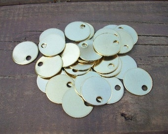 10 Brass 1 Inch Discs - 18 Gauge