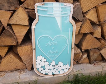 Guestbook mason jars guest book vows for newly weds wood guestbook filled with hearts and sign on it mason jar guestbook