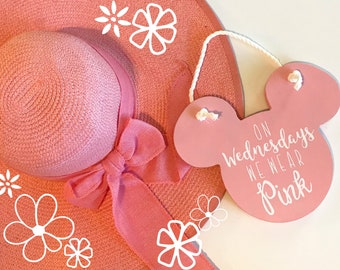 Wednesdays We Wear Pink Wooden Mouse Sign