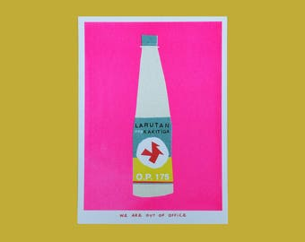 A very pink risograph print of a Indonesian bottle kakitiga