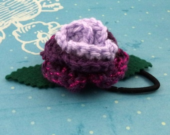 Crocheted Rose Ponytail Holder or Bracelet - Lavender, Purple, and Sparkly Hot Pink (SWG-HP-MPTS02)