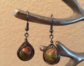 Earthy brown and orange earrings