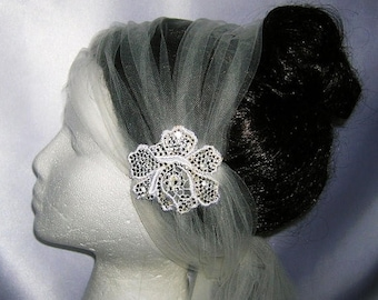 """On Sale Ivory Bridal Veil With Handset Crystal Applique, Versatile """"Tie"""" Styling, Slightly Flapper Style, THE LENORE"""