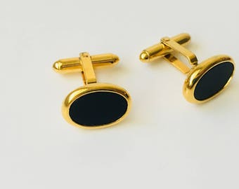 Christian Dior Gold and Black Cufflinks/Christian Dior Cufflinks/Dior/Dior Accessories For Him/Father's Day Gift/Groom Jewelry/Onyx