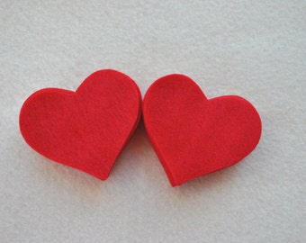 25 Piece Die Cut Felt Hearts, Reds, Medium 2.5 inch