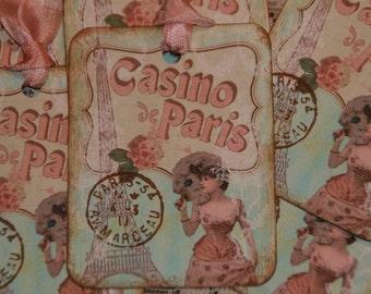 PARIS French Inspired  Casino De Paris  Gift Hang Tags