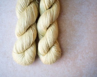 SALE - Alpaca+Silk+Linen sock yarn - hand dyed - Custard