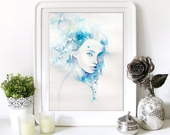 Watercolor Print. Wall art portrait of beautiful girl. Digital print. Summer in her hair. Girl in love with her live.