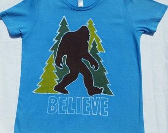 Batik Bigfoot in the Forest Tee Shirt