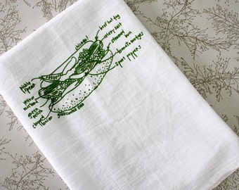 Chicago hot dog diagram tea towel, Chicago gift, white cotton floursack kitchen towel, towels