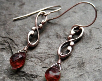 Garnet drop earrings, valentine gift, garnet dangle earrings, infinity earrings, january birthstone earrings, unique gift, ready to ship