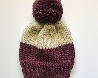 Color Block Knit Hat // Plum and Oatmeal