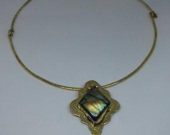 Semi rigid brass and Labrador necklace