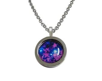 Bordered Bright Nebula Cloud Pendant Necklace