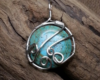 Turquoise wire wrapped pendant s28