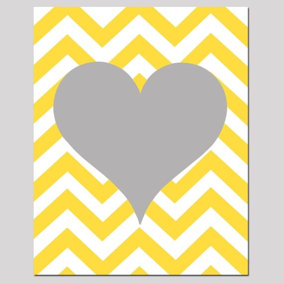 Chevron Heart 8x10 Print Nursery Art Kids Wall Art