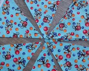 Children's Bunting, Fabric Bunting, Cheeky Monkeys, Nursery/Bedroom Decor, Decoration, Handmade, Blue,