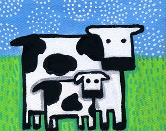 Baby Cow and Mom - Print Shelagh Duffett