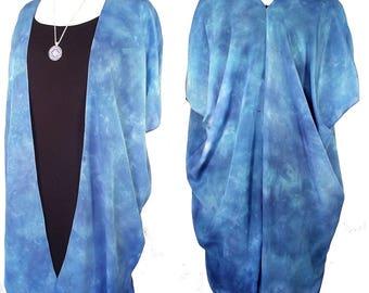Silk Kimono - Hand Dyed Silk - 3 Shades of Blue in Elegant Silk Crepe -Size S-XL