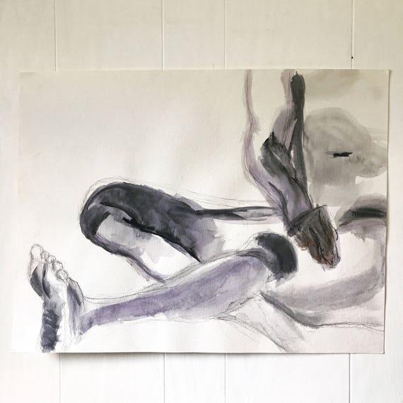 vintage nude male watercolor - original painting - human anatomy study - Oregon artist - 1990s - black and white decor