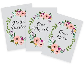 Floral Printable Baby Monthly Milestone Cards 5x7- Instant Download - print yourself - Baby Girl, Baby Milestones, Baby Keepsakes