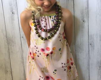 Organic Cotton Sunny Day Dress - Pink floral, girls summer dress