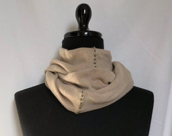 Infinity Cashmere Wool Scarf made from Light Heather Camel sweater