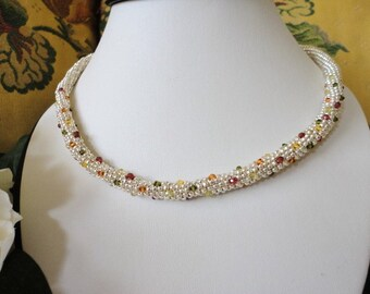 beadwork necklace, unique women necklace, silver bead necklace, Swarovski Crystal necklace, seed bead jewelry, statement jewelry silver