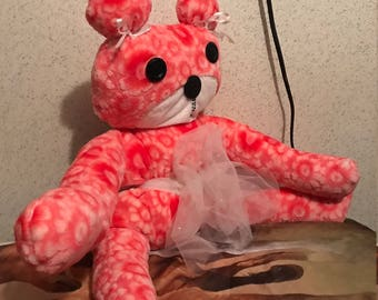 Handcrafted pink minky bear