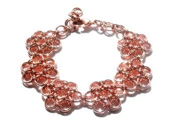 Copper Japanese 12-2 Flower Chainmaille Bracelet