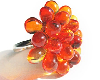 Fire Opal Berry Ring -Limited Edition Cocktail ring, Cluster Ring, Orange and Yellow Cluster beaded ring, Fall statement ring, Ready to Ship