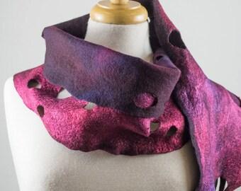 Burgundy Purple Felt Scarf | felted scarf | Hand Dyed scarf| Nuno felt scarf| Gift | Felted scarf | Lacy scarf| silk | Unique Style| Orange