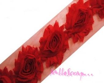 3 flowers scrapbooking.* embellishment red organza Ribbon
