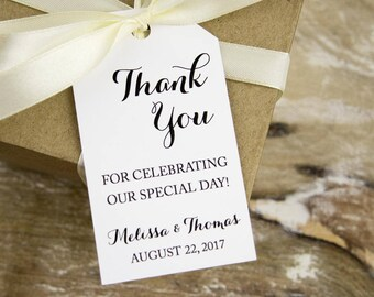 Thank You for celebrating our special day - Thank You Tags - Wedding Favor Tags - Custom Tags - Wedding Favor Tag - MEDIUM 2 5/8 x 1.5 inch