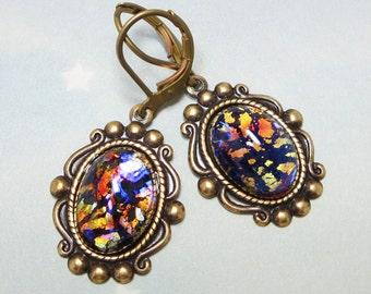 Black Opal Earrings Dangles Black Fire Opal Earrings Jewelry Fantasy Mystical