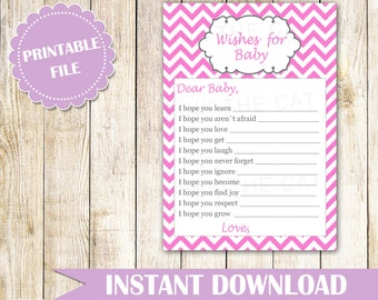 Wishes for Baby Card - New Baby Messages Pink Wishes Card Well Wishes Card Zigzag Chevron Baby Shower Party Game Activity INSTANT DOWNLOAD
