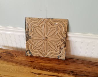 """12"""" Tin Ceiling, Ceiling Tile Square Antique Tin Tile Old Ceiling Tin Flower Pattern Metal Ceiling Vintage Ceiling Tile Vintage Tin Tile"""