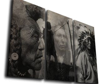 The Portrait of Native American Painting Print Canvas Wall Art Picture Home Décor, Contemporary Artwork Split Canvases, Birthday Gift