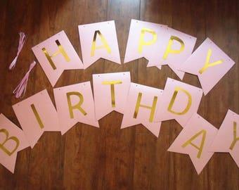 Pink Birthday Banner, Happy Birthday Banner, Birthday Banner, Birthday, Birthday Party Banner, Happy Birthday Sign