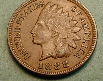 1888 Indian Head Cent  Extra Fine<> The Coin you see is the coin you get /Insurance Included in SH <>ET6421