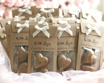 Chocolate Hearts Personalised Wedding Favours with gold glitter, party favors