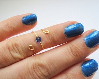 Sapphire crystal knuckle ring, Gold knuckle ring with blue crystal, Swarovski crystal knuckle ring, Sapphire crystal ring, Gifts