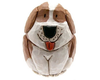 Hand Carved Wood Dog Brown and White Dog