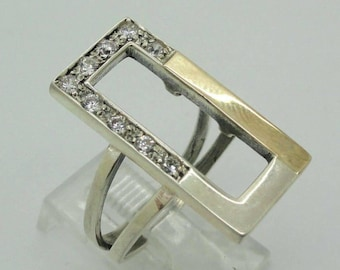 925 Wide band, Sterling Silver and 9k yellow gold ring, glittery CZ ring,  wedding band, any size (s r 2438)