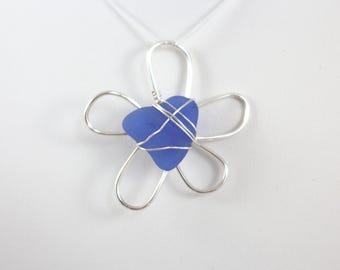 Blue Silver Sea Glass Daisy Flower Necklace Pendant