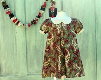 Sage and burgundy mod Christmas dress ready to ship
