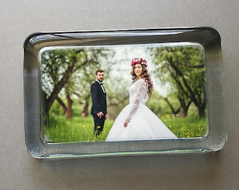 Custom Wedding Photo Paperweight - Your Wedding Photo Displayed in a Rectangle Handcrafted Glass Paperweight, Personalized Wedding Gift