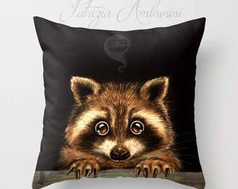 """Throw Pillow Cover with pillow insert Indoor """" Behind you """" PRINT art.. animal art - woodland, racoon- fine babies -ghost"""