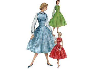des années 50 modèle de corset robe robe jupe pleine motif vintage 31-25-34 ajustement et Flare robe patron chemisier pull simplicité 1421