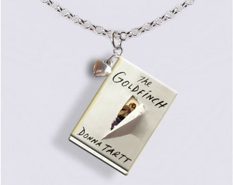 The Goldfinch with Tiny Heart Charm - Miniature Book Necklace